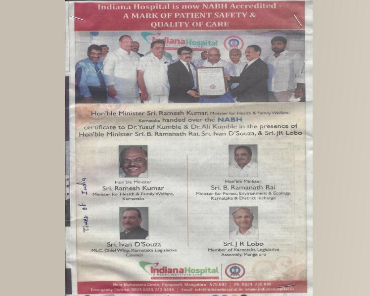 NABH Accreditation Certificate handing over ceremony