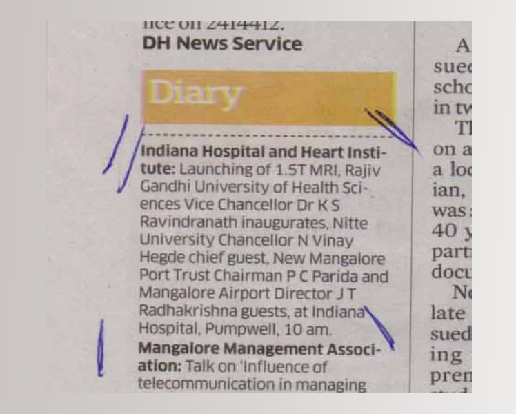 INDIANA HOSPITAL AND HEART INSTITUTE LIMITED HAD LAUNCHED MRI SERVICE ON 24th MARCH 2016