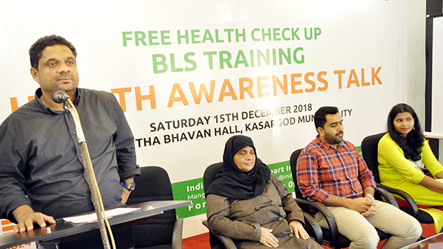 Mr Mujeeb T. - Chairan , Health Working Group; Addressing the gathering during the Health Awareness Program